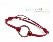 Karma Circle Wish bracelet // red waxed cotton // sterling silver circle wish friendship bracelet // handmade // ready to ship