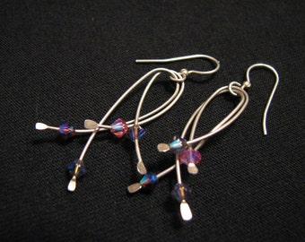 Vintage Sterling Silver and Pink Purple Faceted Crystal Beaded Teardrop Dangle Pierced Earrings