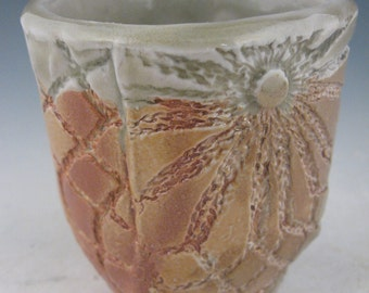 Handmade Wood Fired Pottery Wine Cup with impressed lace texture