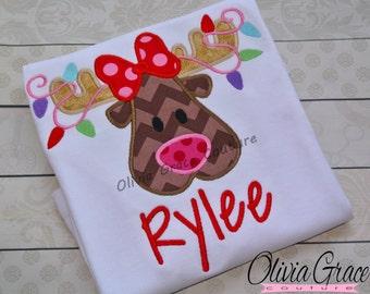 Girl Reindeer Shirt, Girls Christmas Shirt, Embroidered Applique Baby Bodysuit or Girls Shirt
