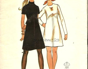 Vintage 70s Mod Dress Pattern Shaped Seam A-Line Dress Long or Short Sleeves 1970 Butterick 5942 Bust 34