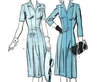 Vintage 1940's Pattern Princess Seam Dress Wing Collar Pleated Slim Skirt 1942 Advance 3093 Bust 34