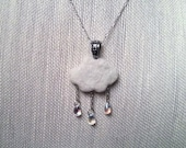 Off White Needle Felted Rain Cloud Pendant with Clear Glass Tear Drop Beads Wool Cloudy Sky - Felt Wearable Art Dressy Style Statement