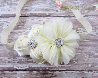 Ivory Headband, Satin & Chiffon Flower Headband or Hair Clip, Baptism, Christening, Flower Girl, Newborn Infant Baby Child Girls Headband