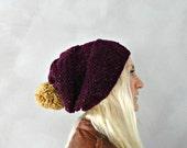 Slouchy Pom Pom Beanie / Purple Beanie / Pompom Beanie / Slouchy Hat / Pompom Hat / Pom Pom Beanie / Birthday Gift