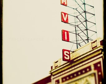 Chicago Theater Photography - Davis Theater, Chicago Art Print - crimson red, Lincoln Square, Urban Wall Decor, Home Decor, vintage sign art