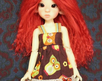 """Vivid Red mohair wig for Kaye Wiggs tiny """"illies"""" / Enyo doll"""