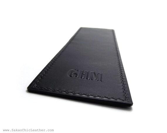 Monogrammed Leather Bookmark, Black Handmade Bookmark, Personalized Bookmark, Custom