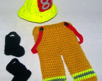 Bunker Gear - Firefighter Baby Outfit - Baby Firefighter - Fireman Clothes - Baby Firefighter Gifts - Baby Firefighter Costume - Photo Prop
