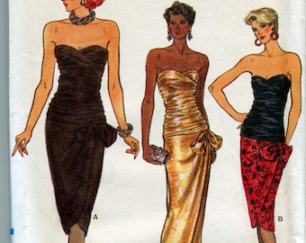 Vogue 9441 -  Vintage 80s Strapless Sexy Dress or Gown Pattern UNCUT Size 6 Shirred