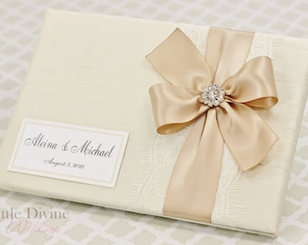 Wedding Guest Book Cream Ivory Champagne Custom Made in your Colors