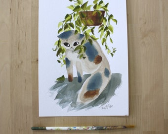 Cat Hiding in Pothos Vines- Original Watercolor Painting- 7x10""