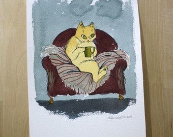 Cat Sitting in his Favourite Chair- Original Watercolor Painting Illustration- 7x10""