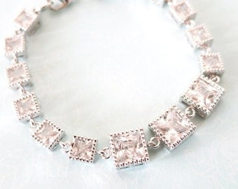 Naimah - Sparkling Square Cubic Zirconia Bridal Bracelet, gifts for her, sparkly silver Bridesmaid bracelet, wedding jewelry, crystal