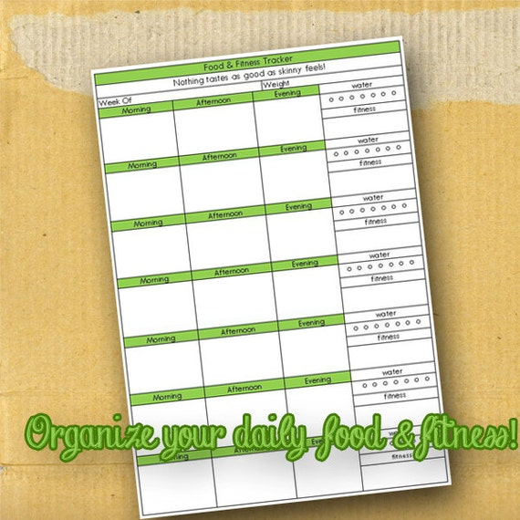 Food and Fitness Tracker / Planner Page / Organization Form / DIY / Printable / 8.5 x 11