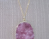 Amaranth - Gold Plated Drusy Pink Agate Necklace