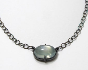 Moonstone Oval Cabochon Necklace Minimal Sterling