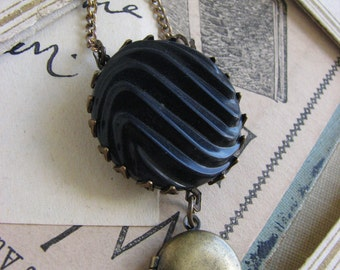Minimal Vintage Button and Locket Pendant Necklace –dark navy, simple, trendy, antique brass