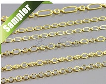 6 different oval link genuine gold plated chain samples, necklace chains, jewelry / jewellery chain, supplies (Sampler lot-54, GOLD)