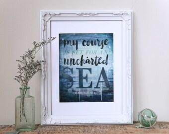 Set For An Uncharted Sea paper print - inspirational ocean beach word art