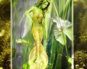 Golden Pond Sprite by Susan Schroder - Mermaid Pond Sprite Mythic Fantasy art print