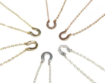 Hammered Horseshoe Necklace, Dainty Horseshoe Necklace in 14KT Gold Filled, Rose Gold Filled or Sterling Silver