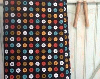 Organic Buttons Fabric Half Yard Button Circle Fabric Joan | Black Mad Mend for Cloud9 Fabrics Bright Bold Retro Geometric Dot Repeat