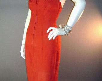 1950s vintage dress 50s rare RED SWEETHEART ZIPPER front zip low back bombshell wiggle dress vlv
