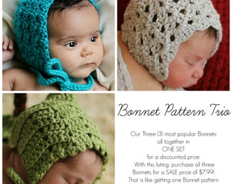 SALE Easy Crochet PATTERNS Baby Child BONNET 3  in one Bonnet Pattern Trio
