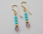 Turquoise and Amethyst Earrings - Gold Filled Beadwork Earrings Dangle Earrings Beaded Drop Earrings