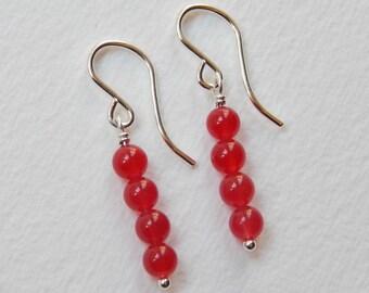 Red Jade Earrings - Sterling Silver Beaded Dangle Earrings Beadwork Earrings Bead Bar Earrings