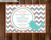 Preppy Chevron Bird Baby Shower Invitation - Gray Coral and Turquoise - PRINTABLE INVITATION DESIGN