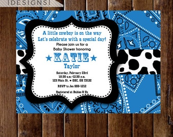 Western Cowboy Blue Bandana Baby Shower Invitation, Bandana Invitation, Baby Shower Invite, Lil Cowboy Invite, Western Invitation