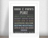 Nana and Papa Christmas Gift - Grandparents Print - Grandparents House Rules  - Gifts from Grandchildren - Instant download - Jpeg File
