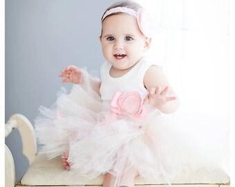 Sweet Champagne and Pink Frosting Tutu Dress   Baby Girls Birthday Tutu Dress Outfit   1st Birthday Dresses   Cake Smash Tutu Dress