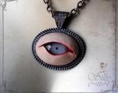 eye - necklace - wearable art, handsculpted, handpainted, creepy, halloween, horror, eyeball, ooak, GREY