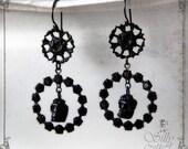 victorian gothic earrings -  - dark, romantik, victorian mourning, mourning wreath, antique style, memento mori, skull