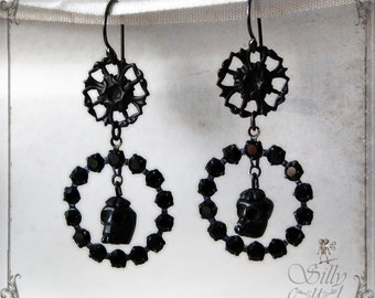 victorian gothic earrings -  - dark, romantik, victorian mourning, mourning wreath, antique style, memento mori, skull