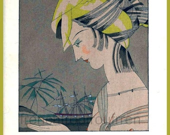 antique french art deco flapper girl illustration yellow madras hairstyle DIGITAL DOWNLOAD