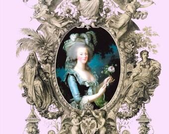 antique french illustration marie antoinette queen of france angels frame digital download