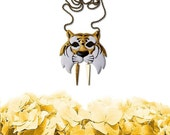 Tiger necklace, warrior tiger necklace, animal jewelry, tiger jewelry, wild cat, vegan necklace - GOLD