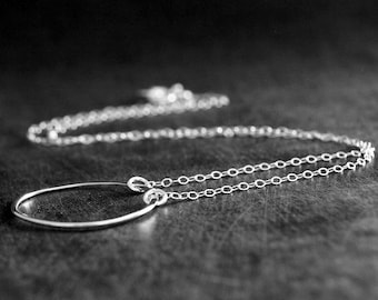 Silver Circle Necklace, Sterling Silver Jewelry, Simple Everyday Necklace