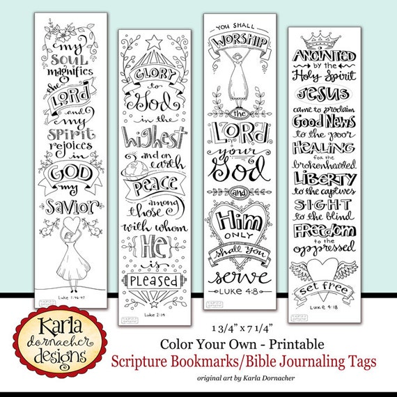 Luke 1-4 Color Your Own Bible Bookmarks Bible Journaling Tags