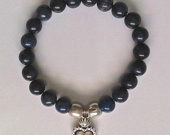 Blue Indigo Dumortierite Gemstone Stretch Bracelet Ex Voto Milagros Heart, Religious Jewelry, Gemstone Stretch Bracelet, Outlander Jewelry