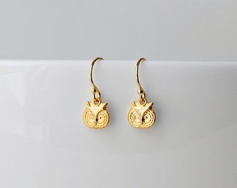 Gold owl earrings, tiny brass owls, gold earwires, little girl, animal, bird, woodland, forest, delicate jewelry - Maisie