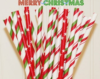 Paper Straws, 25 Merry Christmas Paper Drinking Straws, Red Paper Straws, Green Paper Straws, Holiday Party Straws,Fun Paper Straws, Retro