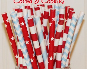Paper Straws, MADE IN USA,  25 Cocoa and Cookies Party Straws, Red Paper Straws, Blue Paper Straw, Striped Straws, Birthday Straws, Carnival