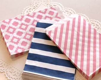 Pink and Navy Paper Bags, 20 Preppy Girls Paper Favor Bags, Pink Paper Bags, Navy Paper Bags, Paper Candy Bags, Nautical Party Treat  Bags