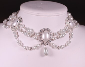 White Pearl Boudoir Pearls Choker Renaissance Tudor Necklace Game of Thrones