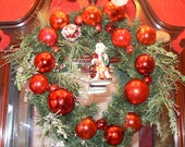 Good Ol' Saint Nick Christmas Wreath with Red Vintage Glass Bulbs